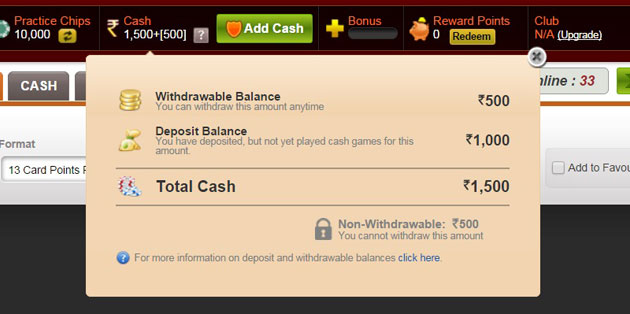 withdraw money from RummyCircle