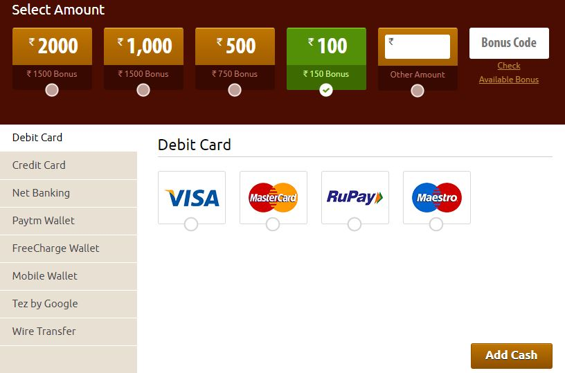 Khelplay Rummy Payment Options