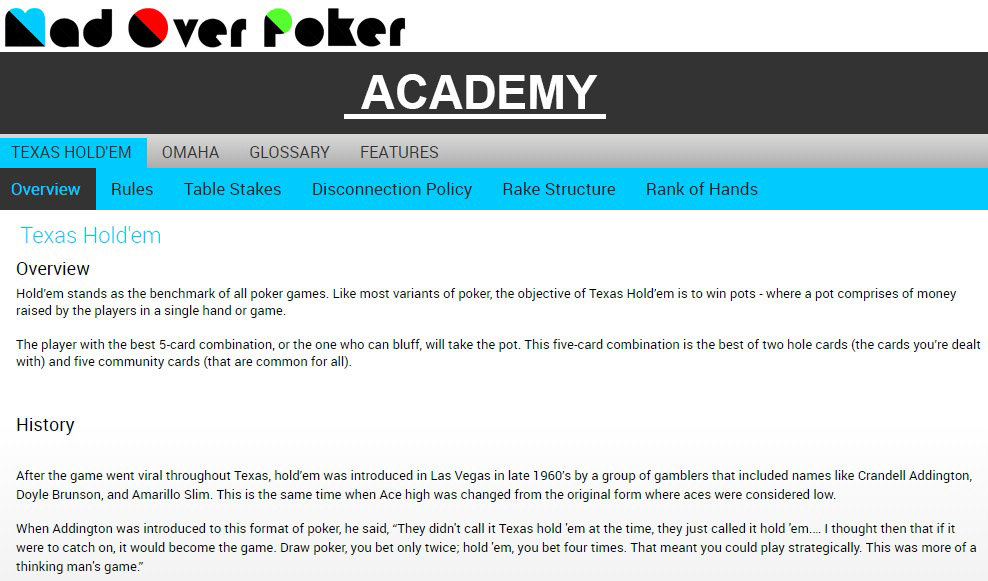Mad Over Poker Academy
