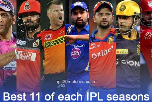 Best 11 of each IPL seasons